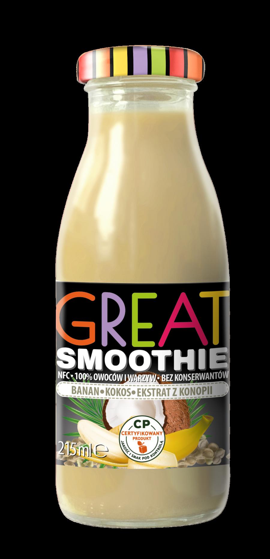 Great Smoothie banan, kokos, ekstrakt z nasion konopi